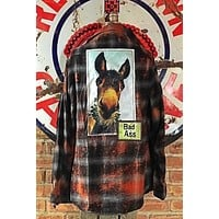 Bad Donkey Distressed Flannel- Antique Black Angry Minnow Clothing Co.