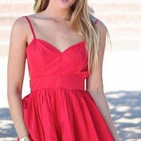 Red Spaghetti Strap V Neck Backless Chiffon Ruffle Trim Skater Circle A Line Flare Mini Dress