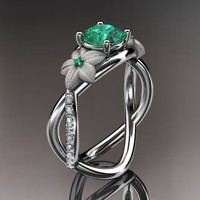 Spring Collection, Unique Diamond Engagement Rings,Engagement Sets,Birthstone Rings -  14kt white gold diamond leaf and vine birthstone ring ADLR90 Emerald - May\'s Birthstone. nature inspired jewelry