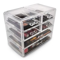 Acrylic Cosmetics Makeup and Jewelry Storage Case Display, 2 Large and 4 Small Drawers - Walmart.com