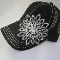 Black White Stitched Mesh Back Trucker Baseball Cap Hat with Gorgeous All Rhinestone Flower Accent Hats Visors Truckers Baseball Caps