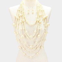 "24"" faux pearl multi strand layered bib choker necklace 1.75"" earrings"