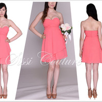 Strapless Sweetheart Short Coral Bridesmaid Dress
