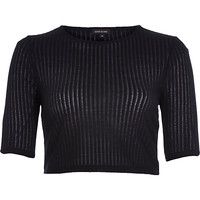 River Island Womens Black sheer ribbed crop top