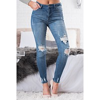 Easy Goes It Distressed Jeans (Medium Wash)