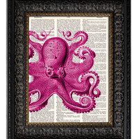 COMMON OCTOPUS - pink Dictionary Art Print