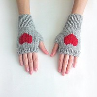 Knit Fingerless Gloves in Silver Grey, Dark Red Embroidered Heart, Heart Gloves, Fingerless Mittens, Arm Warmers, Wool Blend