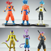 6pcs/set 12-14cm Dragon Ball Z Son Goku Vegeta Trunks Action Figure PVC Collection figures toys for christmas gift brinquedos