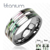 7mm Triple Abalone Inlayed Ring Solid Titanium Women's Ring
