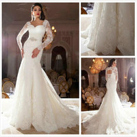 Vintage 2016 Lace Wedding Dresses Long Sleeves Appliques Bridal Gowns Illusion Body Lace-Up Empire Mermaid Court Train