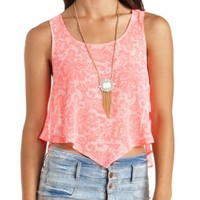 Sheer Lace-Printed Tie-Back Crop Top by Charlotte Russe