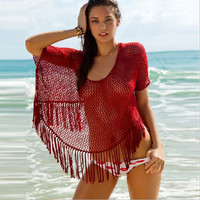 Knit Crochet Hollow Out Beach Cover Up B007972