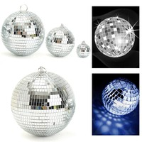 KiWarm New Silver Glass Rotating Mirror Disco Ball For Party Stage KTV Bars Shop Holiday Home Room Decoration Crafts Ornaments