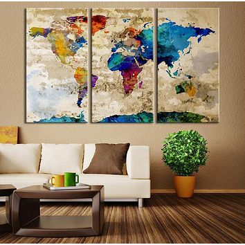 Watercolor World Map Canvas Print Large World Map Wall Art Great Design Great Gift Idea