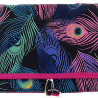 Cosmetic Makeup Bag Peacock Print Travel Kit Black Folding Pouch Organizer