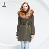 BASIC Winter Womens Parka Casual Outwear Military Hooded Coat Winter Thinsulate Jacket Women Fox Fur Collar Coats WY1389