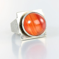 Carnelian Ring, Mexico modernist sterling silver agate ring, size 5 1/2 ring
