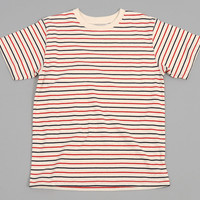 archival clothing - striped crew neck t shirt natural   navy   red