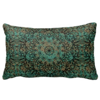 Vintage Copper Patina Floral Pattern Pillows