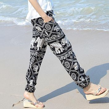 2017 Summer hot sell new Boho printed cotton trousers loose pants elephant printing elastic hem waist with pockets