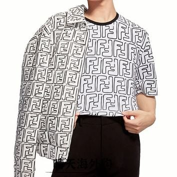 FENDI new letter covered F printed T-shirt