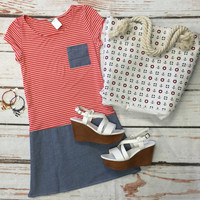 Striped with Chambray Dress