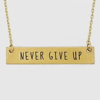 Never Give Up Bar Necklace In Gold