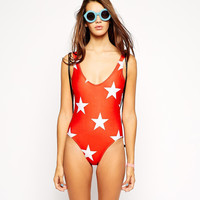 Red with White Star Print One Piece Swimsuit