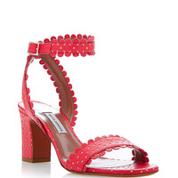 Leticia Perforated-Leather Sandals in Coral