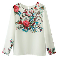 White Floral Print Back Keyhole Long Sleeve Top