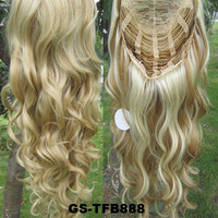 """HOT 3/4 Half Long Curly Wavy Wig Heat Resistant Synthetic Wig Hair 200g 24"""" Highlighted Curly Wig Hairpieces with Comb Wig Hair GS-TFB888 H27/613"""
