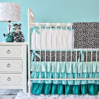 Girls Aqua Leopard Print Ruffle Baby Bedding Crib Set - Caden Lane