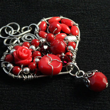 Red Coral Heart Pendant, Wire Heart Jewelry, Mosaic Necklace, Valentine's Day, Mother's Day