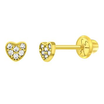14k Yellow Gold 3mm Clear Pave Cubic Zirconia Heart Screw Backs for Little Girls to Toddlers