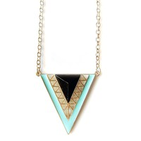 Burnish Gold Arrow Geo Triangles Necklace