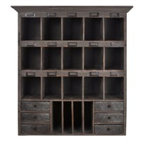 Distressed Wood Cabinet with Cubbies & Drawers (Shabby Gray)