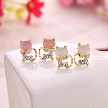 OPAL KITTY CAT EARRINGS
