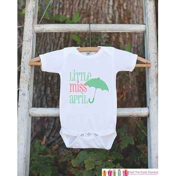 Little Miss April Onepiece Bodysuit - Take Home Outfit For Newborn Baby Girls - Pink Green Umbrella Infant Going Home Hospital Onepiece