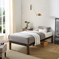 Metal Bed Frame with Wood Legs