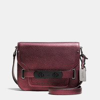 Coach Swagger Small Shoulder Bag in Metallic Pebble Leather