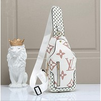 Louis Vuitton LV Trending Woman Men Leather Travel Bookbag Shoulder Bag Backpack white