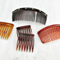 Antique Vintage Hair Comb Set, Faux Tortoise-Shell Hair Combs, Brown Amber Orange Hair Combs, 1930s Art Deco to 1970s Retro Hair Accessories