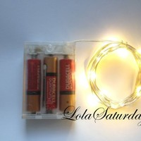 LolaSaturdaysTM 20 LED Wire String Lights 7ft Battery Operated Water resistant - Warm White
