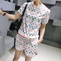 """Louis Vuitton"" Women Sport Casual Fashion Multicolor Print Short Sleeve Shorts Set Two-Piece Sportswear"