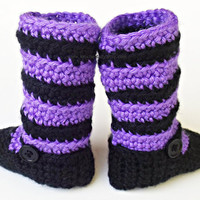 1st Halloween Costume Striped Leggings  Baby Booties