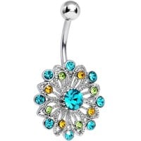 PEACOCK JEWEL FLOWER Belly Button Ring