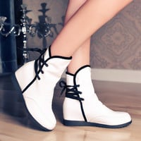 Women Ankle Boots Lace Up Wedges Shoes Woman 2016 3455