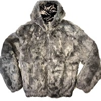 Winter Fur Gray Rabbit Bomber Fur Coat