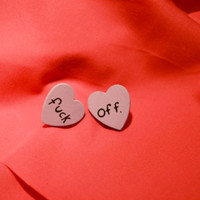 Made to Order  Fuck Off Heart Shaped Earrings by wickedlyrad