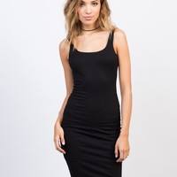 Scooped Ribbed Bodycon Dress